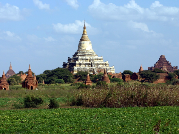 Ancient Buddhist monuments dotting the countryside around Bagan in Burma