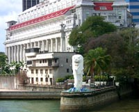 Singapore Merlion Picture Symbol on The Merlion  Symbol Of Singapore  With The Restored Fullerton In The